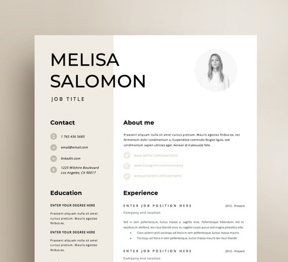 Resume Template Cv Template Resume Cv Design Teacher Etsy