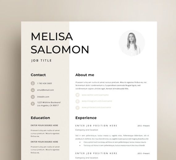 Resume Template | CV Template | Resume | CV design | Teacher resume |  Curriculum Vitae | CV Instant download Resume | Resume Templates | cv