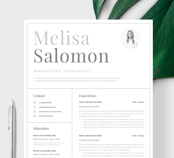 Professional Cv Template With Photo For Word Simple Cv Template Cv Template 1 Page Professional Resume And Cover Letter Single Page Resume