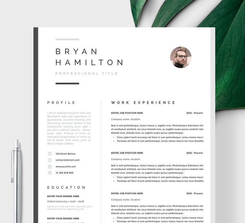 Professional Resume Template Clean Modern One Page Instant Download CV For Word Hamburg
