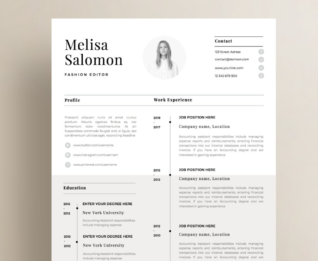 one page resume template with photo for word  u0026 pages cv