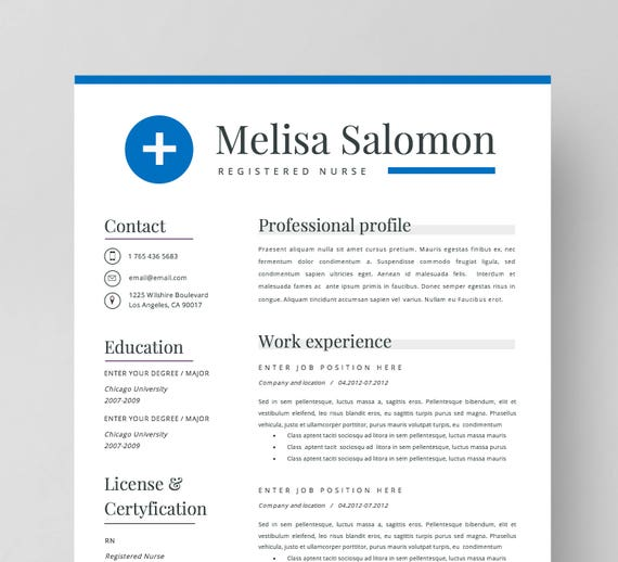 Nurse Resume Template for Word Nursing resume Medical | Etsy
