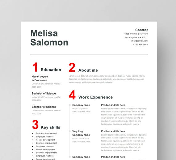 Simple resume template for Word Simple CV Template for Word Professional  resume for Word Creative resume and cover letter instant download