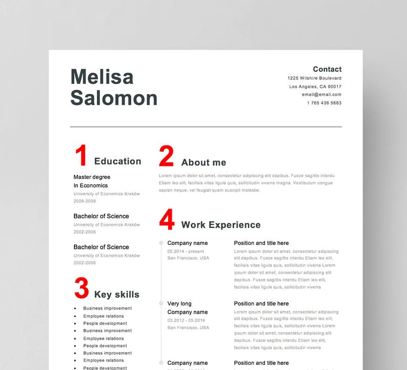 Simple Resume Template For Word CV