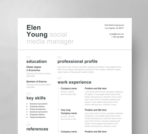 Swiss resume template cover letter reference page clean etsy image 0 reheart Images