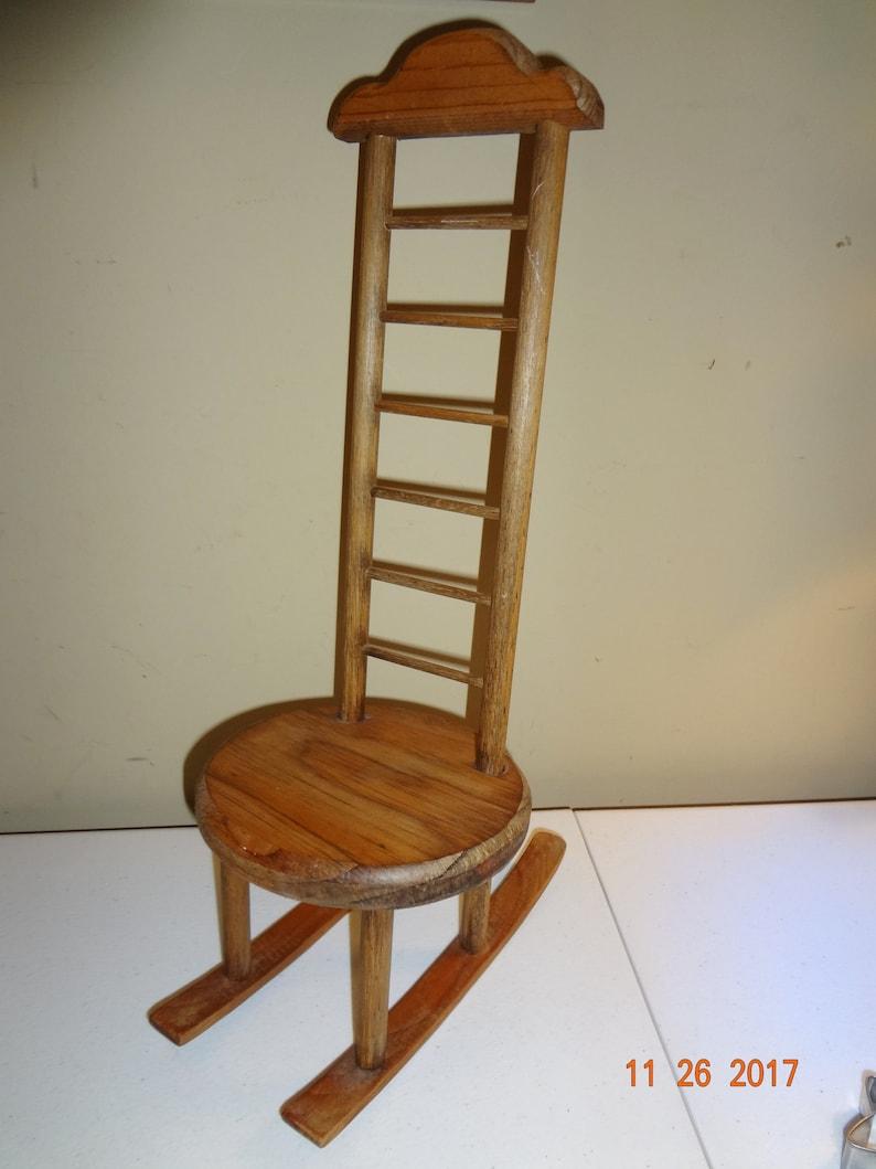Miniature High Back Wood Doll Rocking Chair Farmhouse Decor
