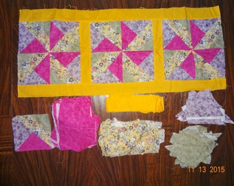 1 1/2 Lbs of Cotton Fabric - Quilt Block Cotton Fabric Remnants