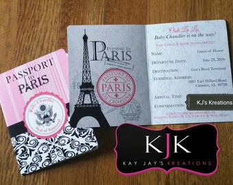 Passport invitation etsy personalized paris passport invitations with envelopes filmwisefo