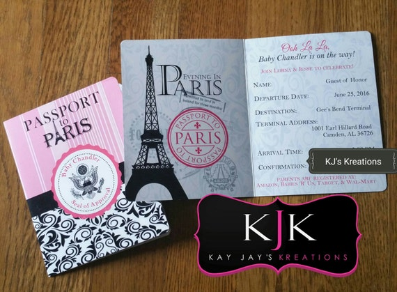 Personalized Paris Passport Invitations With Envelopes