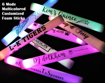 Multicolored multiple-mode Custom LED Foam Sticks - you pick the quantity and the text!  Wedding receptions, parties, giveaways, and more!