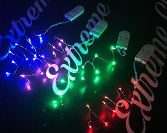 """VALUE PACK Colored or White LED Coin Cell Fairy Lights - strings of 10 Fairy Lights 39"""" or 20"""" wire.  Batteries included and replaceable."""