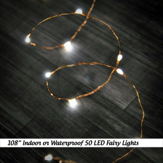 sports shoes 8324c f12fd 50 Warm White (Silver or Copper Wire) LED Fairy Wire Lights. Indoor or  outdoor use. ~8.5 feet long. Uses AA Batteries or plug in.