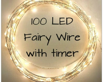 100 Warm White (Silver or Copper Wire) LED Fairy Wire Lights- 5 meters (~16.5 feet) long.  Timed Lights, battery pack or plug in lights.