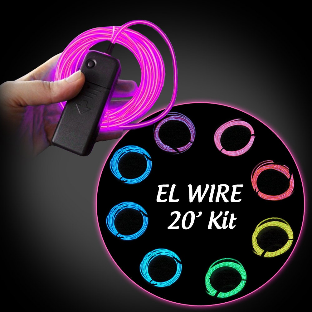 20-foot (6m) EL Wire Kit - Electroluminescent Wire - Glow Wire - AA ...