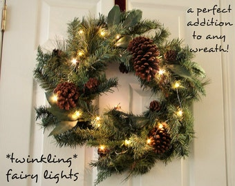 TWINKLING Fairy Lights for Christmas Wreaths. Silver or Copper Wire.  3, 6, or 16.5 feet long.  Longer strands feature a timer.