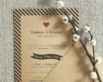 "Invitation ""Black Stripes No2"" Vintage to Wedding"