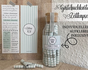 """50 pieces: Guestbook cards """"Time Travel"""" No2 Mint -> Time capsule cards / Wedding game / Guestbook for the wedding"""