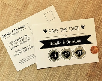 """Save the date scratch card """"vintage"""" for the wedding"""