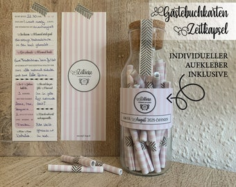 """50 pieces: Guestbook cards """"Time Travel"""" -> time capsule cards / Wedding game / Guestbook for the wedding"""