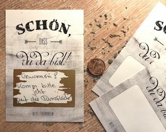 25x scratchcards | No9 White Chalkboard | Scratch Card Party game/Gastegeschenk for wedding, birthday etc.