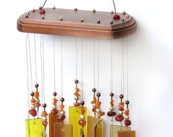 Glass Wind Chime - Orange Suncatcher - Copper - Housewarming Gift, Christmas Gift, Porch Décor, O1006