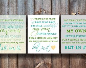 Not Flesh of My Flesh Nor Bone of My Bone - Adoption Prints - Instant Download - 3 Variation