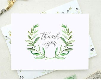 Thank You Cards Wedding Set. Baby Shower Thank You Cards. Floral Thank You Card. Set of Floral Thank You Cards. Leafy Wreath Thank You TY10