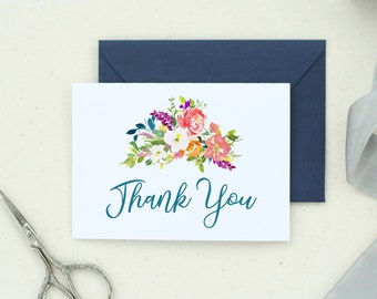 Thank you card pack etsy thank you cards wedding thank yous floral notecards folded notecards thank you card pack watercolor notecards baby thank you notes 30 junglespirit Images