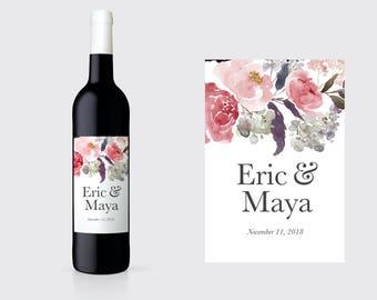 Couples Wine Bottle Labels. Engagement Wine Bottle Labels. Engagement Champagne Label. Custom Wedding Wine Label. Wedding Wine Label. W23