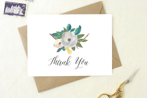 Wedding Shower Thank You Cards Blank Cards Floral Thank You Etsy