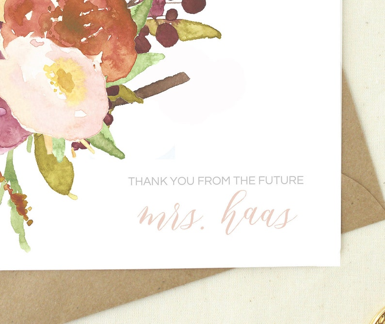 Just Engaged  Bridal Shower Thank You Cards  Thank You From Future Mrs   Blank Cards floral  Wedding Shower Thank You Notes  MRS03
