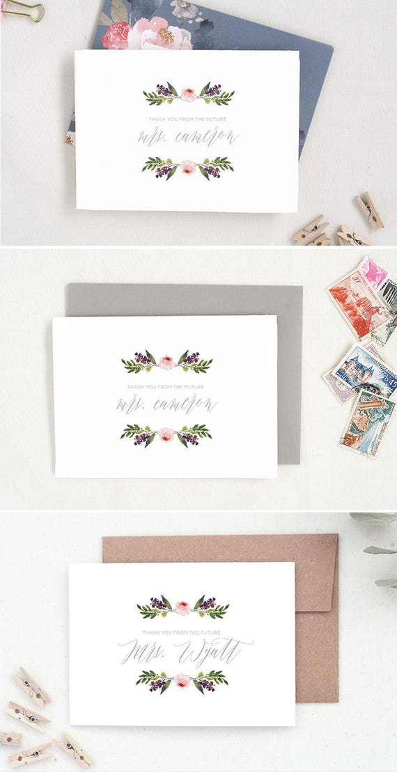e45606f9236c Future Mrs Cards. Bridal Shower Thank You. Wedding Thank You
