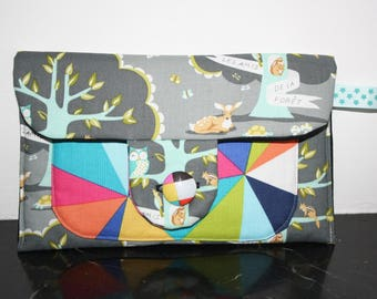 Pretty cotton pouch with friends of the forest and colorful graphic fabric patterns!
