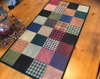 Homespun Table Runner / Primitive Decor /Quilted Table Runner / Country Decor / Handmade /  Item #2348