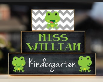 Frog Teacher Sign Back to School Custom Personalized -Trio Wood Blocks Stack - Classroom Decor/Gift - Wooden Block