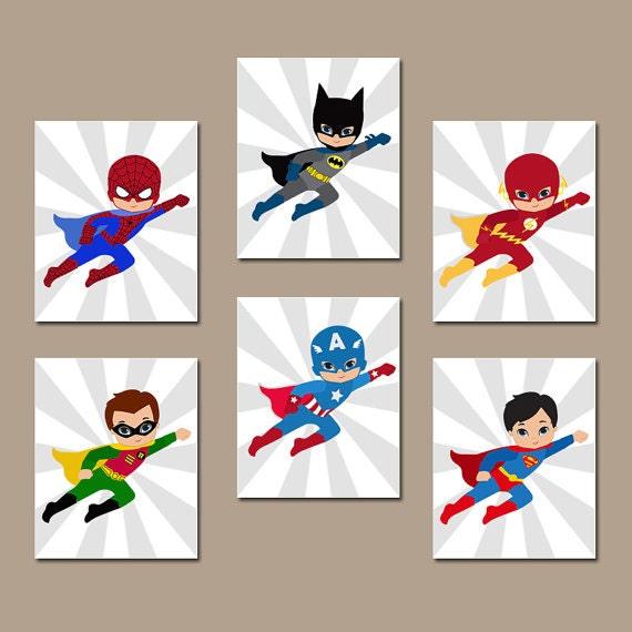 SUPERHERO Wall Art, INSTANT DOWNLOAD Superhero Wall Decor, Digital files,  Set of 6 8x10 inch, Superhero Bedroom Wall Decor