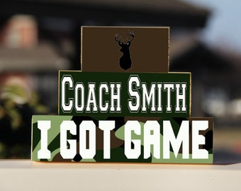Deer Hunter Blocks Teacher Sign Coach Father Custom Personalized -Trio Wood Blocks Stack - Classroom Decor/Gift - Wooden Blocks