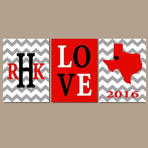 Texas Tech Red Raiders Chevron Family College Monogram Initial | Etsy