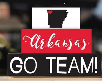University of Arkansas Razorbacks Hogs Woo Pig Sooie - Trio Wood Blocks Stack - Cardinal Red White - Home Decor Gift - Fayetteville Arkansas