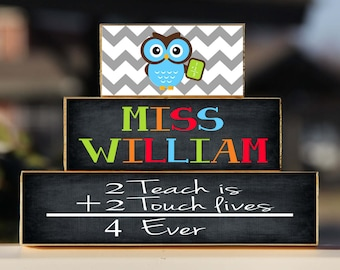 Owl Teacher Sign, Math Teacher, Back to School Custom Personalized -Trio Wood Blocks Stack - Classroom Decor/Gift - Wooden Block