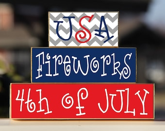 USA Fireworks 4th of July - Trio Wood Blocks Stack - Red/White/Blue Chevron - Home Decor/Gift - Wooden Blocks