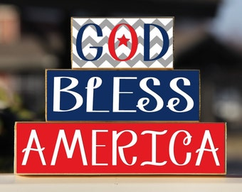 God Bless America - Trio Wood Blocks Stack - Red/White/Blue Chevron - Home Decor/Gift - Wooden Blocks