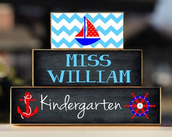 Nautical Teacher Sign Back to School Custom Personalized -Trio Wood Blocks Stack - Classroom Decor/Gift - Wooden Block