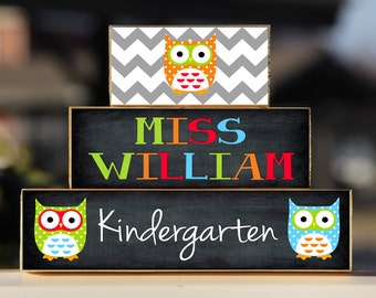 Owl Teacher Sign Back to School Custom Personalized -Trio Wood Blocks Stack - Classroom Decor/Gift - Wooden Block