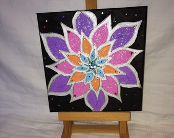 Original black/purple bright flower painting on canvas /direct from the artist/ Hand made/Hand painted with acrylics./