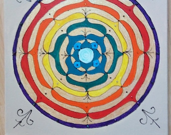 Mandala style canvas art hand painted/ direct from the artist/ Hand made/Hand painted with acrylics.