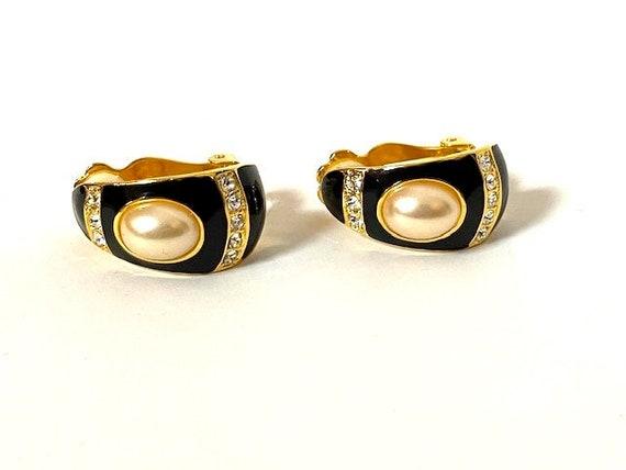 Vintage Joan Rivers Pearl, Gold, Black Dangle Clip