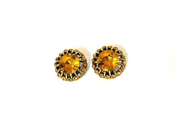 Vintage Hollycraft Gold Orange Gemstone Clip On Ea
