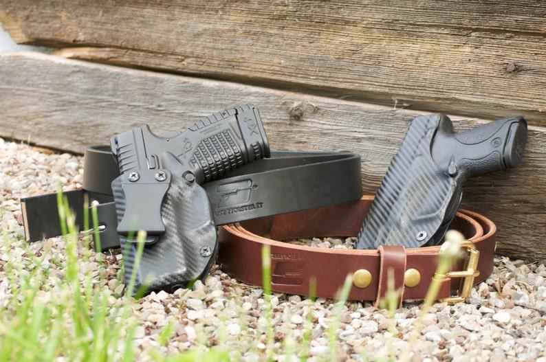 Ruger American 45 Custom Made Black Kydex Carbon Fiber Retention IWB  Holster- w/ Slide (Sweat) shield - Lifetime Warranty,