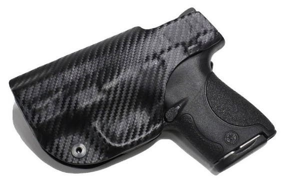 Kahr PM9 Custom Made Black Kydex Carbon Fiber Retention IWB Holster w/  Slide Sweat Shield - Lifetime Warranty